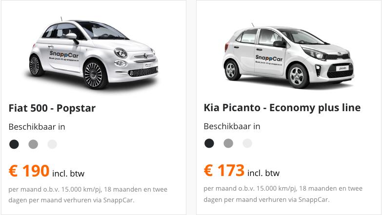 SnappCar leaseauto aanbiedingen